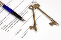 Real Estate Contract. With Keys and Founatain Pen Stock Photography