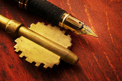 Real estate contract concept. Key and pen. Real estate contract concept Stock Image