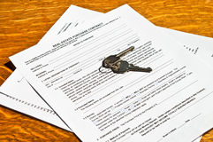 Real Estate Contract with Keys Stock Image