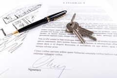 Real estate contract. With keys (random latin dummy text used Stock Photo