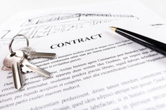 Real estate contract. With keys (random latin dummy text used Stock Image