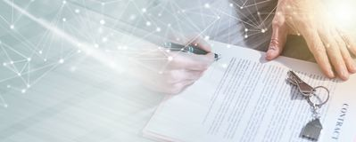 Real estate contract signature (lorem ipsum text used); multiple exposure. Signature of a real estate contract (lorem ipsum text used); multiple exposure stock images