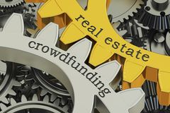 Real estate crowdfunding concept on the gearwheels, 3D rendering. Real estate crowdfunding concept on the gearwheels, 3D Royalty Free Stock Image