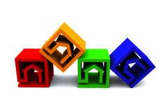 Real estate cubes horizonatal. Four real estate cubes in different colors Vector Illustration