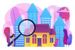 Real estate concept vector illustration. Real estate customer with magnifier looking for property for sale. Real estate market, real estate transactions royalty free illustration