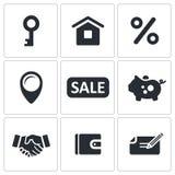Real Estate-de reeks van het Overeenkomstenpictogram Stock Foto
