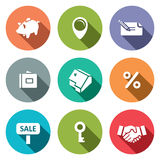 Real Estate Deal flat icon collection. Real Estate Deal icon set on a colored background Royalty Free Stock Images