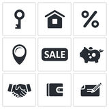 Real Estate Deal icon set Stock Photo