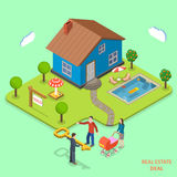 Real estate deal isometric flat vector concept. Royalty Free Stock Images