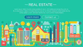 Real estate design concept set with online search apartment rental market buying flat icon infographics template design Royalty Free Stock Image