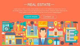 Real estate design concept set with online search apartment rental market buying flat icon infographics template design Stock Photos