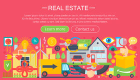 Real estate design concept set with online search apartment rental market buying flat icon infographics template design Royalty Free Stock Photo