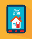 Real estate. Design over yellow background vector illustration Stock Photo