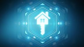 Real estate digital interface 3D rendering. Real estate digital interface  on blue background 3D rendering Royalty Free Stock Image