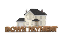 Real Estate Down Payment. Graphic depicting the words down payment in front of a model home Royalty Free Stock Photos