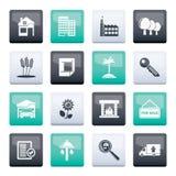 Real Estate e ícones de construção sobre o fundo da cor foto de stock royalty free