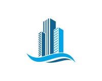 Real Estate-Eigentum und Bau-Logo entwerfen für Geschäftsunternehmenszeichen Lizenzfreies Stockfoto