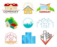 Real Estate-Embleme und -logos Lizenzfreie Stockfotos