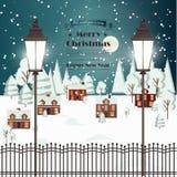Real Estate för by för stad för landskap för bygd för vintersnö symbol Templ för design för stads- för nytt år för jul bakgrund f royaltyfri illustrationer