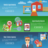 Real Estate Flat Horizontal Banners Stock Images