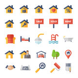 Real Estate flat Icons. Real Estate Icons. Flat Icon Set for Web and Mobile Application Royalty Free Stock Photography