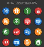 Real estate 16 flat icons. Real estate vector icons for web and user interface design Royalty Free Illustration