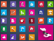 Real estate flat icons set of house valuation commission Royalty Free Stock Images