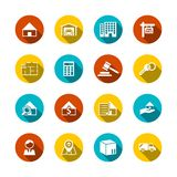 Real Estate Flat Icons. Set of key plan auction isolated vector illustration Royalty Free Stock Photo