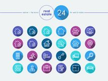 Real estate flat icons set. Real estate and property colorful flat icons set for web and mobile app. EPS10 vector file organized in layers for easy editing Royalty Free Stock Photos