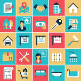 Real Estate flat icons set stock illustration