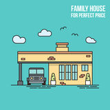 Real estate flat line banner. Family house. Perfect price. Stock Photo