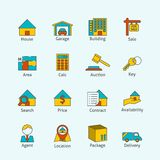 Real estate flat line icons Royalty Free Stock Images