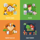Real Estate Flat Set. Real estate design concept set with family property search flat icons isolated vector illustration Royalty Free Stock Photos