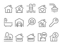 Real estate flat thin line icons Royalty Free Stock Photos