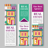 Real estate flat vertical banner set with house logo, ribbon, trees. Village apartment rental and buying vector Royalty Free Stock Photos