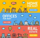 Real Estate Flyer Banner Posters Card Set. Vector. Real Estate Flyer Banner Posters Card Set Home, Apartment and Office Building for Rent and Sale Concept Royalty Free Stock Photo