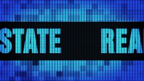 Real Estate Front Text Scrolling LED Wall Pannel Display Sign Board. Real Estate Front Text Scrolling on Light Blue Digital LED Display Board Pixel Light Screen royalty free illustration