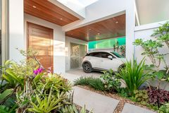 Real estate Garage car parking house home interior exterior stock images