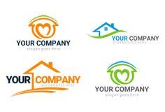 Real Estate-Geplaatst Huisembleem en Pictogrammen vector illustratie