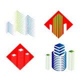 Real Estate-geplaatste Webpictogrammen en vectoremblemen Royalty-vrije Stock Afbeeldingen