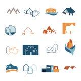 Real Estate-geplaatste Webpictogrammen Huisemblemen Bouwembleem Vector Stock Afbeelding