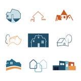Real Estate-geplaatste Webpictogrammen Huisemblemen Bouwembleem Vector Royalty-vrije Stock Afbeelding