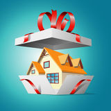 Real estate in a gift box Royalty Free Stock Image