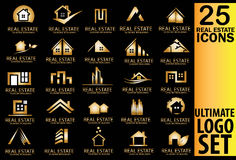 Real estate gold logo set Stock Photography