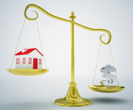 Real estate gold scale Royalty Free Stock Image