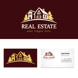 Real estate golden forest logo template Royalty Free Stock Photography