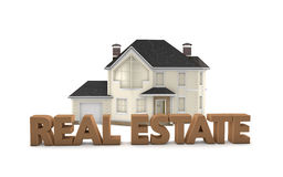 Real Estate. Graphic depicting the words Real Estate  in front of a model home Stock Photo