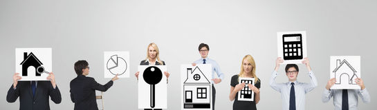 Real estate. Group businesspeople holding poster with chart and real estate Stock Photography