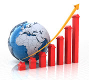 Real estate growth chart with globe, 3d render. White background Stock Photo