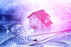 Real estate growth graph. Digital illustration Stock Images